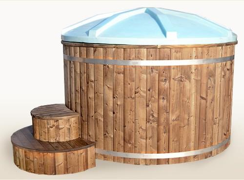 badezuber 200cm aus thermoholz mit kunststoff und innenofen badetonnen und saunen aus holz. Black Bedroom Furniture Sets. Home Design Ideas