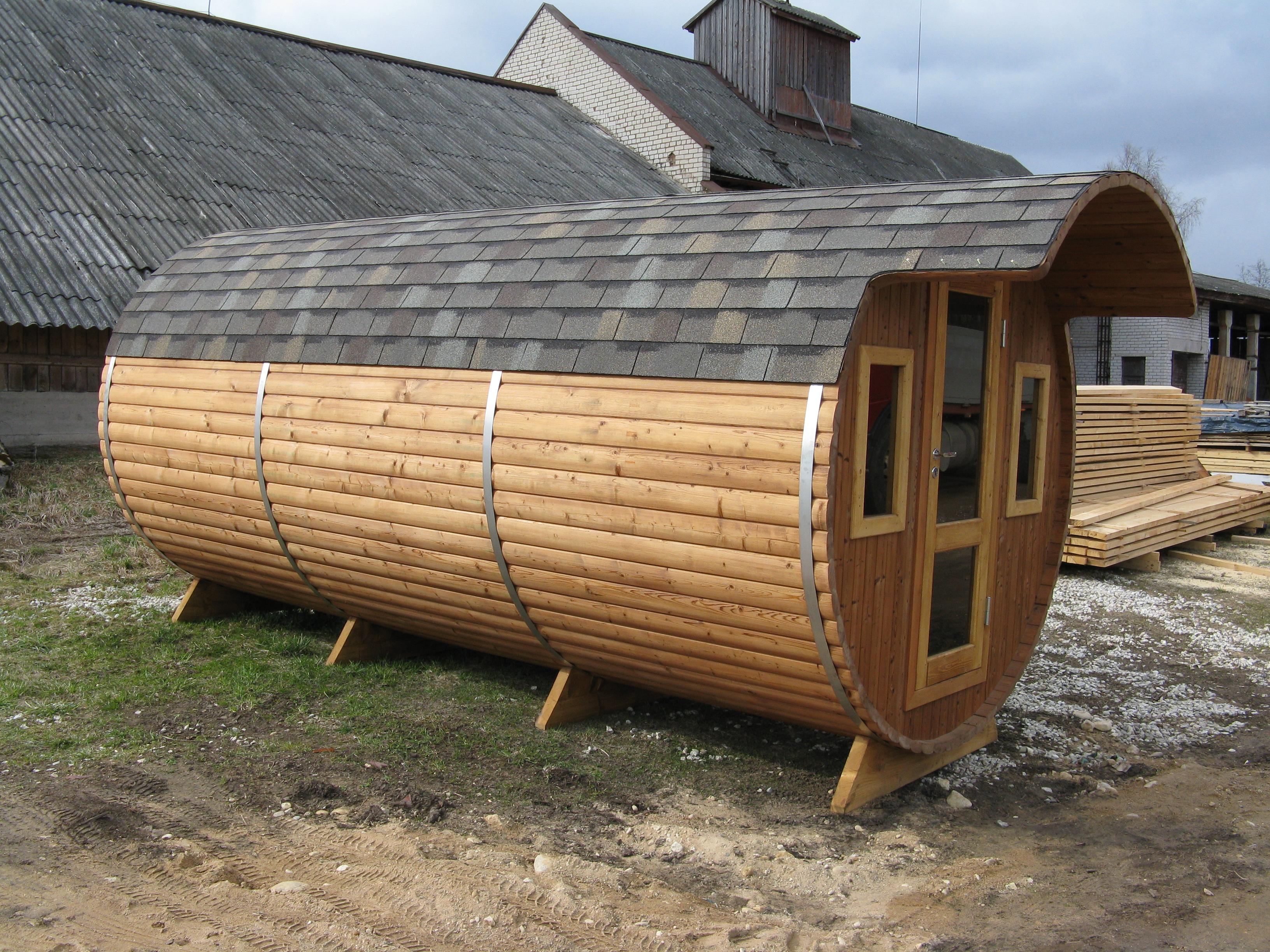 Outdoor Barrel Sauna Three Rooms Wood Fired Heater