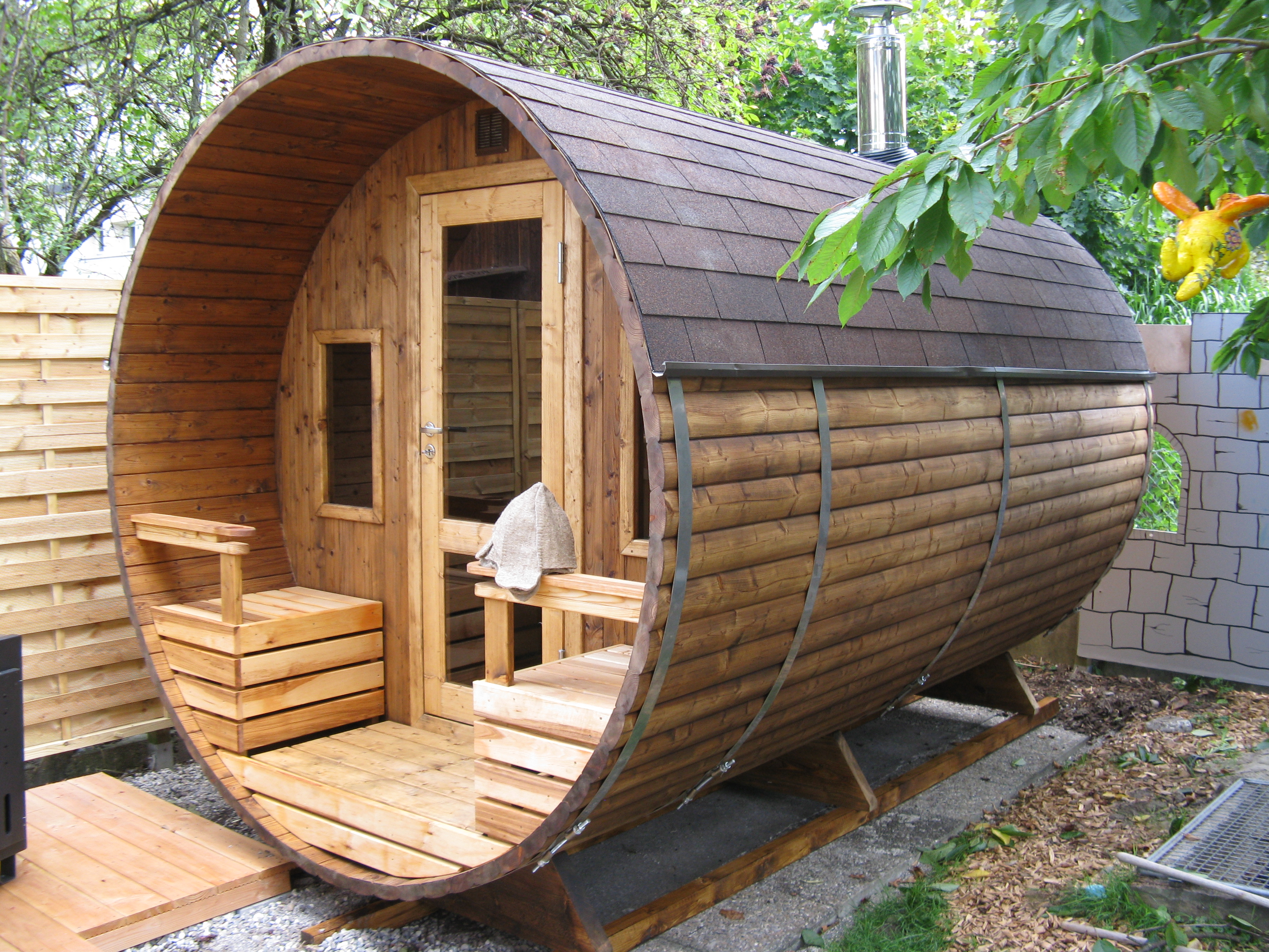 Barrel Sauna Terrace Two Rooms Wood Fired Heater
