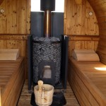 log fired barrel sauna