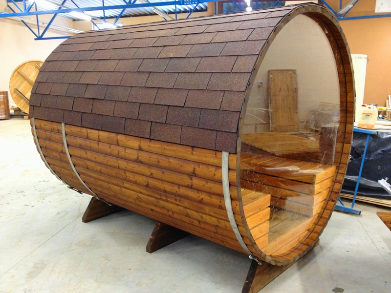 bambino panorama 2 7m tonnensauna mit glaswand und. Black Bedroom Furniture Sets. Home Design Ideas