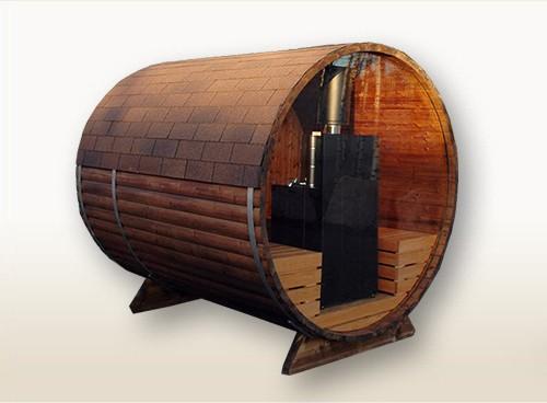 bambino panorama 2 7m tonnensauna mit glaswand und terrasse mit holzofen badetonnen und. Black Bedroom Furniture Sets. Home Design Ideas