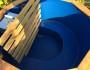 Badezuber 200cm aus Thermoholz mit Kunststoff und Innenofen