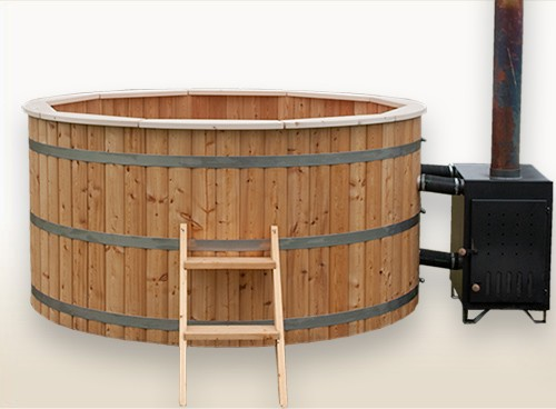 wood burning hot tub 2 meter siberian larch external heater wooden hot tubs and barrel. Black Bedroom Furniture Sets. Home Design Ideas