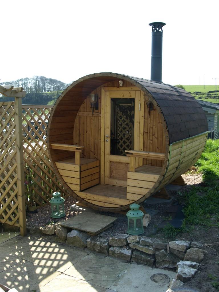 log-fired barrel sauna